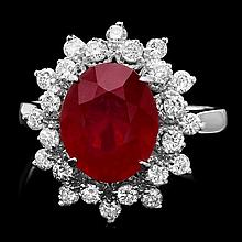 14k White Gold 5.00ct Ruby 0.80ct Diamond Ring