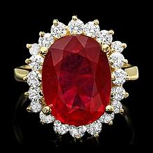 14k Yellow Gold 7.50ct Ruby 1.00ct Diamond Ring
