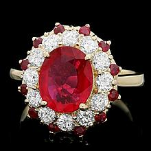 14k Yellow Gold 3.5ct Ruby 1.10ct Diamond Ring