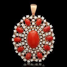 14K Yellow Gold 15.72ct Coral 5.48ct Diamond Pendant