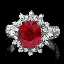 14k White Gold 4.50ct Ruby 1.50ct Diamond Ring