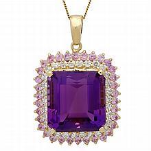 14K Gold 26.16ct Amethyst 2.05ct Sapphire 1.45ct Diamond Pendant