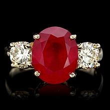 14k Yellow Gold 5.00ct Ruby 1.10ct Diamond Ring