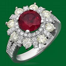 14k Gold 2.18ct Ruby 1.82ct Diamond Ring
