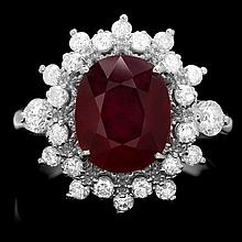 14k White Gold 3.50ct Ruby 0.78ct Diamond Ring