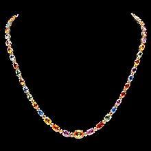 14k Gold 30ct Sapphire 1.5ct Diamond Necklace