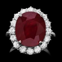 14k White Gold 12.00ct Ruby 1.60ct Diamond Ring