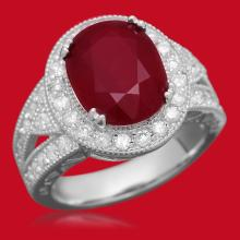 14K Gold 6.96ct Ruby 1.20ct Diamond Ring