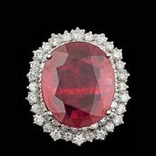 14k White Gold 10.50ct Ruby 1.85ct Diamond Ring