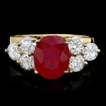 14k Yellow Gold 4.00ct Ruby 1.35ct Diamond Ring