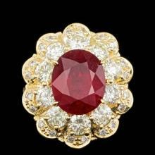 14k Yellow Gold 6.00ct Ruby 2.85ct Diamond Ring