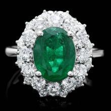 14k White Gold 3.20ct Emerald 1.80ct Diamond Ring