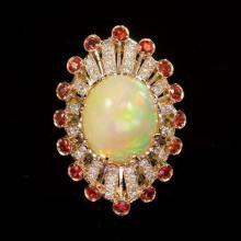14K Gold 13.28ct Opal, 1.28ct Orange Sapphire 1.10ct Diamond Ring