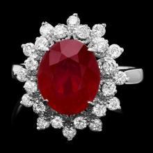 14k White Gold 5.00ct Ruby 0.80ct Diamond Ring