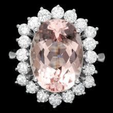 14k Gold 6.50ct Morganite 1.30ct Diamond Ring