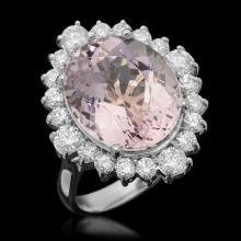 14k Gold 9.16ct Kunzite 1.35ct Diamond Ring