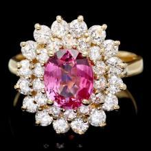 14k Gold 2ct Tourmaline 1.70ct Diamond Ring