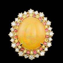 14k Yellow Gold 10.00ct Opal 1.00ct Diamond Ring