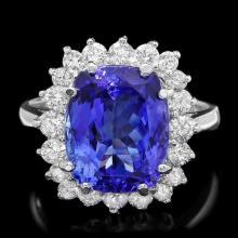 14k Gold 6.00ct Tanzanite 0.90ct Diamond Ring