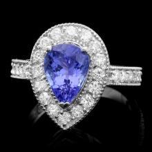 14k Gold 2.50ct Tanzanite 1.00ct Diamond Ring
