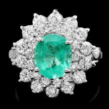 14k White Gold 1.80ct Emerald 1.40ct Diamond Ring