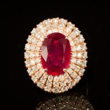 14K Gold 6.59ct Ruby 1.91ct Diamond Ring