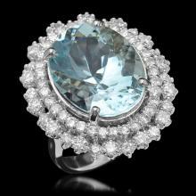 14K Gold 12.78ct Aquamarine & 2.05ct Diamond Ring