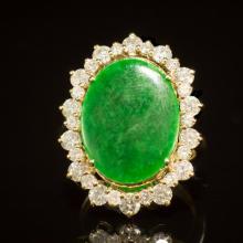14K Gold 2.91ct Jadeite 2.42ct Diamond Ring
