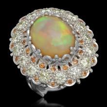 14K Gold 7.12ct Opal 0.48ct Sapphire 2.20ct Diamond Ring