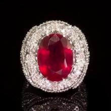 14k Gold 18.62ct Ruby 2.15ct Diamond Ring