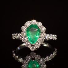 14K Gold 6.20ct Emerald 1.50ct Diamond Ring