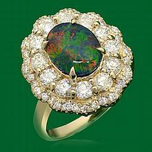 14k Gold 1.78ct Opal 1.72ct Diamond Ring