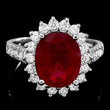 14k White Gold 4.50ct Ruby 0.90ct Diamond Ring