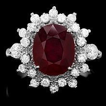 14k White Gold 3.50ct Ruby 0.78ct Diamond Ring