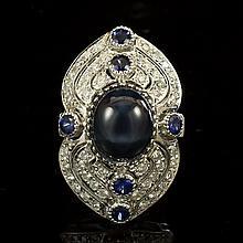 14K Gold 12.60ct Star Sapphire, 0.55ct Sapphire  1.41ct Diamond Ring
