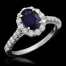 14K Gold 7.00ct Sapphire 0.72ct Diamond Ring