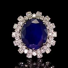 14K Gold 12.29ct Sapphire 3.85ct Diamond Ring