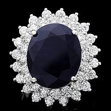 14k Gold 11.50ct Sapphire 2.50ct Diamond Ring