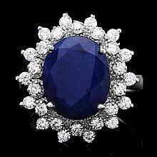 14k Gold 6.50ct Sapphire 0.90ct Diamond Ring