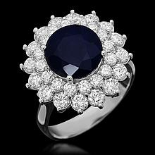 14K Gold 3.43ct Sapphire 1.91ct Diamond Ring