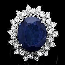 14k Gold 7.00ct Sapphire 0.80ct Diamond Ring