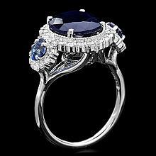 14k White Gold 6.5ct Sapphire 0.90ct Diamond Ring