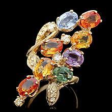14k Gold 8.00ct Sapphire 0.50ct Diamond Ring