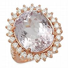 14K Gold 16.65ct Kunzite 1.46ct Diamond Ring