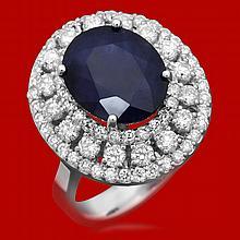 14k Gold 5.93ct Sapphire 1.52ct Diamond Ring