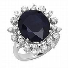 14K Gold 8.67ct Sapphire 0.93ct Diamond Ring