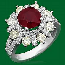 14k Gold 3.02ct Ruby 1.85ct Diamond Ring