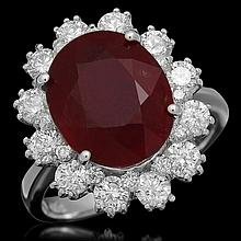 14K Gold 6.20ct Ruby 1.46ct Diamond Ring