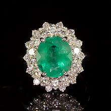 14K Gold 3.24ct Emerald 1.51ct Diamond Ring