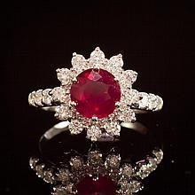14K Gold 2.34ct Ruby 1.20ct Diamond Ring